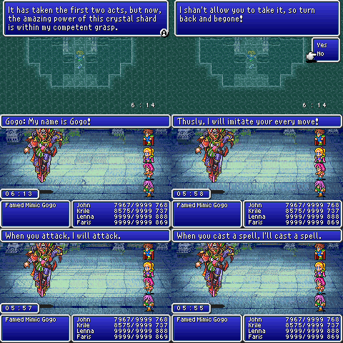 final fantasy v advance mime job class